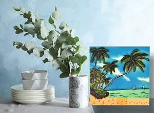 Palm Tree with Sailboat Tile Trivet 2