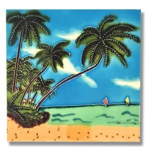 Palm Tree with Sailboat Tile Trivet 1