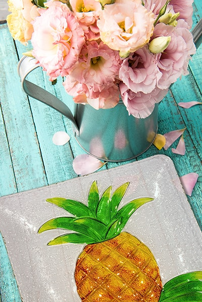 "Pineapple Glass Plate - 12"" 4"
