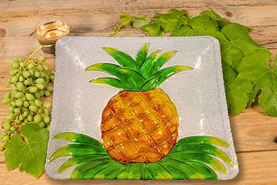 "Pineapple Glass Plate - 12"" 3"