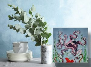 Delightful Purple Octopus Tile Trivet 2
