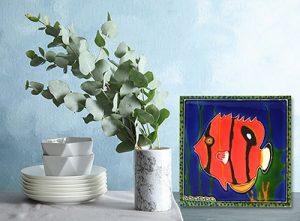 Incredible Red Angelfish Tile Trivet 2