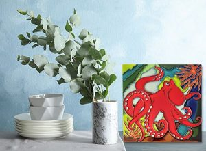 Lovely Red Octopus Tile Trivet 2