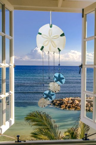 "Sand Dollar Glass Wind Chime - 27"" 1"