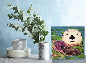 Exquisite Sea Otter & Urchin Tile Trivet 2
