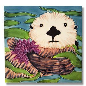 Exquisite Sea Otter & Urchin Tile Trivet 1