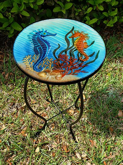 "Sensational Seahorse Glass Side Table - 12"" Diameter Top 2"