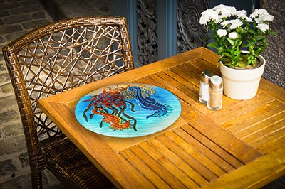 "Sensational Seahorse Glass Side Table - 12"" Diameter Top 5"