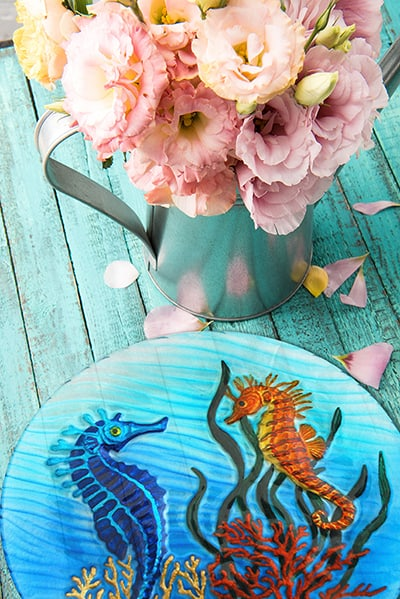 """Seahorse Glass Plate - 8"""" 4"""