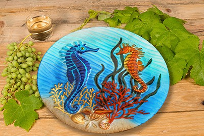 """Seahorse Glass Plate - 8"""" 3"""