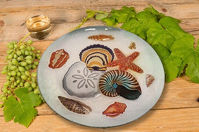 "Seashell Medley Glass Plate - 12"" 3"