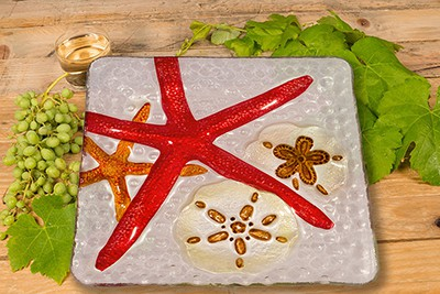"Starfish Glass Plate - 8"" 3"