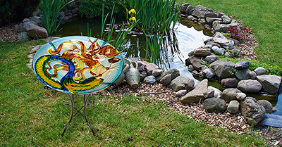 "Sunkissed Mermaid Glass Bird Bath Bowl - 18"" 5"