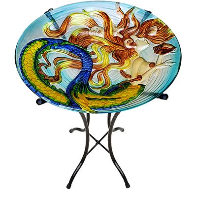 "Sunkissed Mermaid Glass Bird Bath Bowl - 18"" 7"