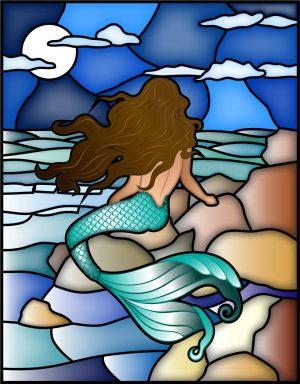 moonlight mermaid window cling