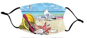 seagull & seashells facemask