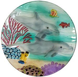 "Dolphin Paradise Glass Bowl - 18"" 1"