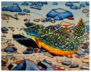 brook trout tile art wall hanging