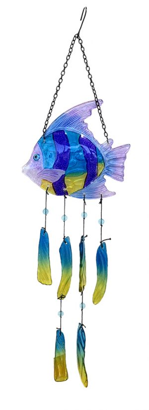 glass angel fish wind chime
