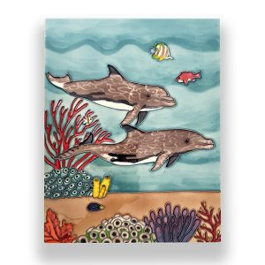 Captivating Dolphin Tile Art Wall Hanging 1