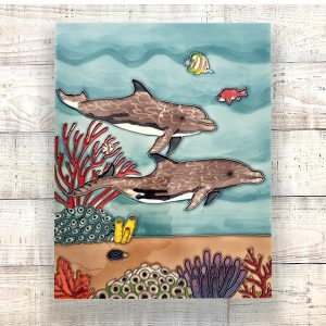 Captivating Dolphin Tile Art Wall Hanging 2