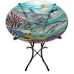 "Dolphin Paradise Glass Bowl - 18"" 4"