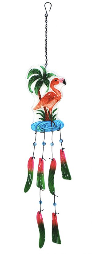 glass flamingo wind chime
