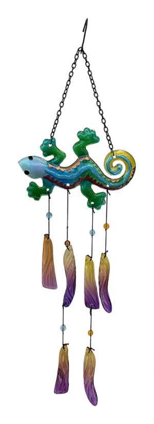 glass gecko wind chime