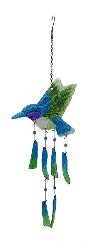 glass hummingbird wind chime