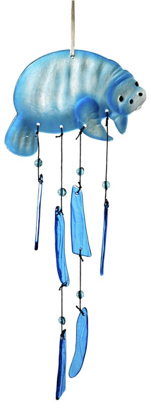 glass manatee wind chime