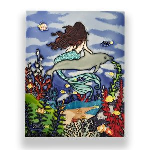 Sensational Mermaid & Dolphin Tile Art Wall Hanging 1