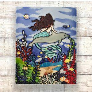 Sensational Mermaid & Dolphin Tile Art Wall Hanging 2