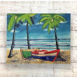 Wonderful Tropical Beach & Rowboat Tile Art Wall Hanging 2