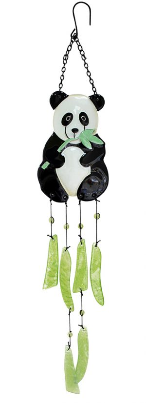 glass panda wind chime