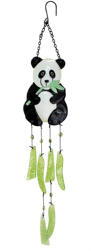 glass panda wind chime