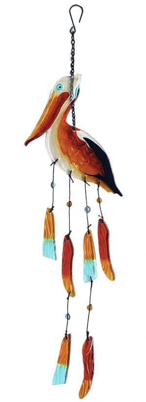 glass pelican wind chime