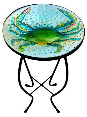 """Blue Crab Glass Side Table - 12"""" Diameter Top 1"""