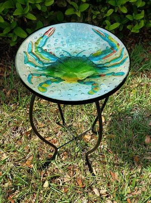 """Blue Crab Glass Side Table - 12"""" Diameter Top 2"""