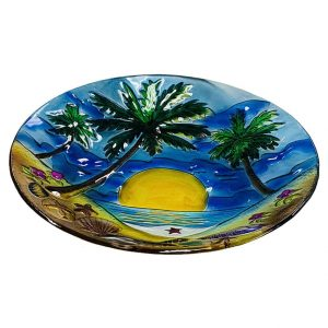 "Glorious Palm Tree Glass Bowl - 18"" 2"