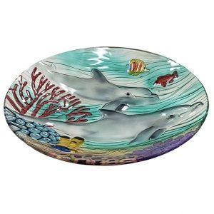 "Dolphin Paradise Glass Bowl - 18"" 2"
