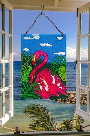 Glorious Flamingo Glass Suncatcher 2