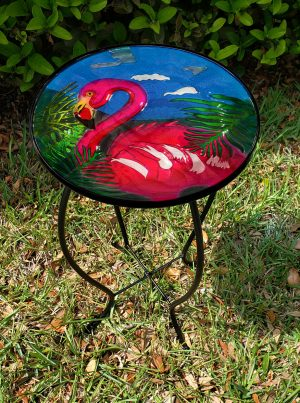 "Fantastic Flamingo Glass Side Table - 12"" Diameter Top 2"