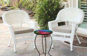"Fantastic Flamingo Glass Side Table - 12"" Diameter Top 4"