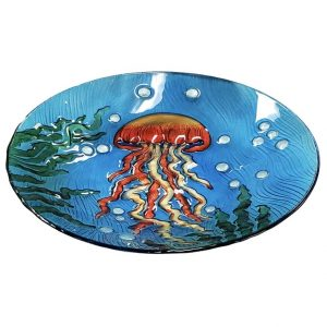 "Jellyfish Glass Bird Bath Bowl - 18"" 2"
