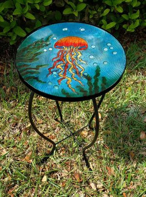 """Exquisite Jellyfish Glass Side Table - 12"""" Diameter Top 2"""