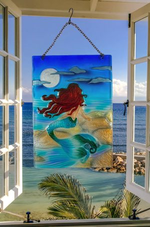 Majestic Moonlight Mermaid Glass Suncatcher 2