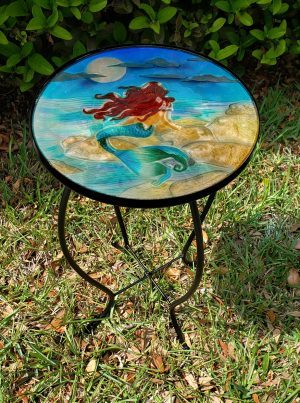 "Magnificent Moonlight Mermaid Glass Side Table - 12"" Diameter Top 2"
