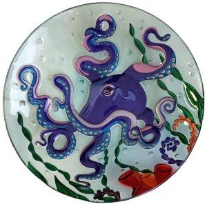 "Purple Octopus Glass Bowl - 18"" 1"