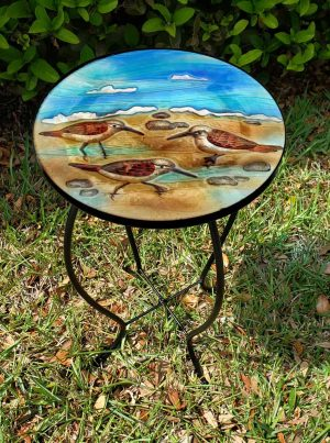 "Dazzling Sandpiper Glass Side Table - 12"" Diameter Top 2"