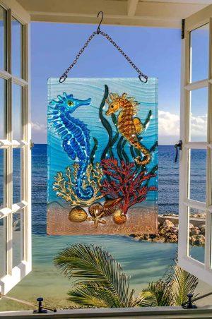 Splendid Seahorse Glass Suncatcher 2